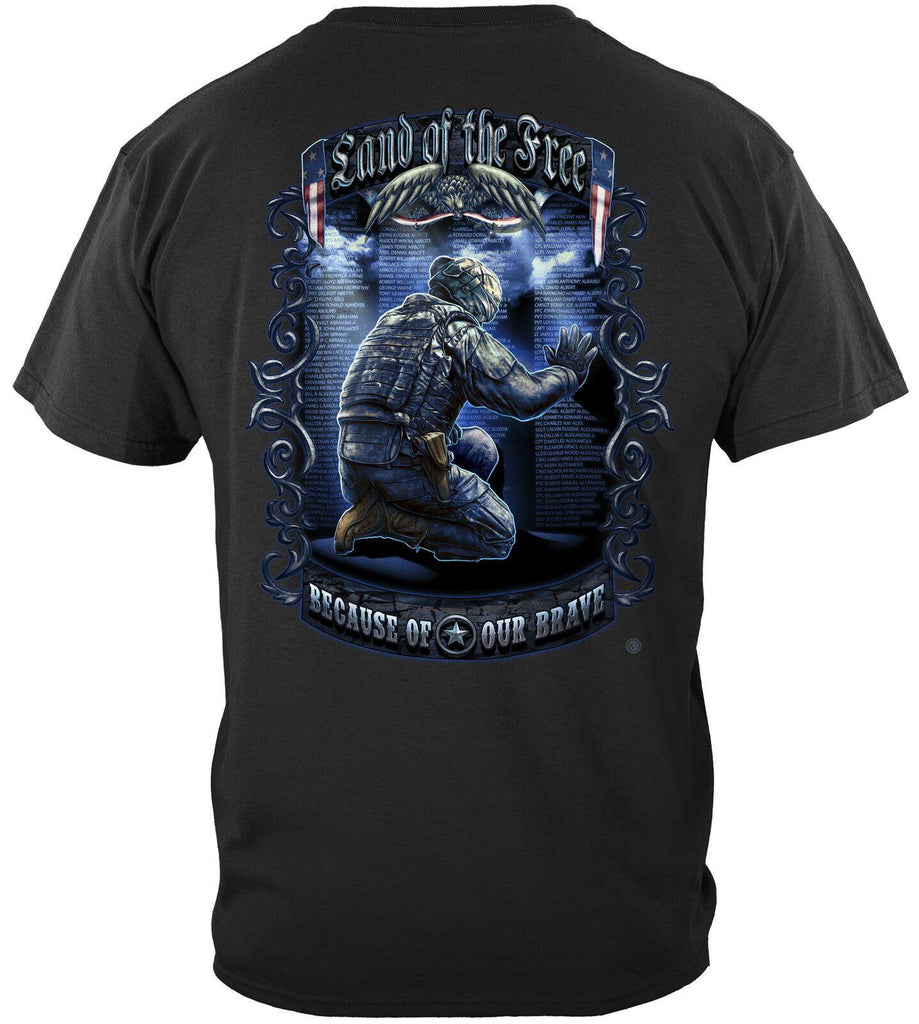 Soldier Land of the Free Because of Brave US Flag Patriotic T-Shirt Cotton Black