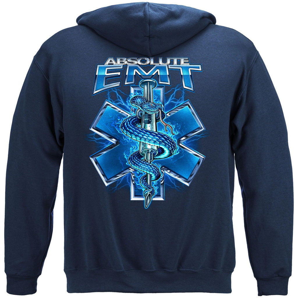 Absolute EMT Snake Patriotic Hoodie Sweatshirt Navy