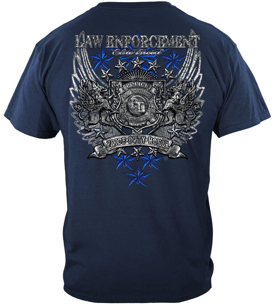 Police Elite Breed Law Enforcement Chrome Wings Silver T-Shirt 100% Cotton Navy