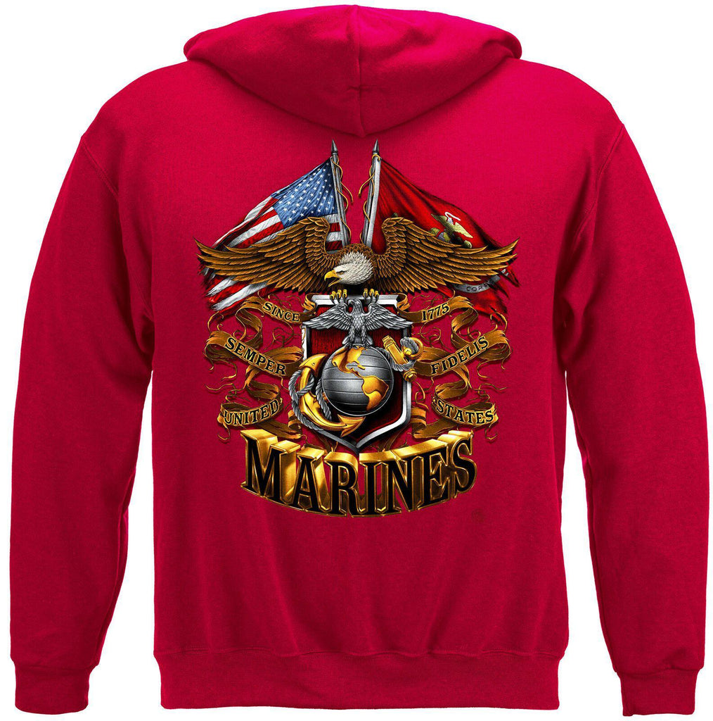 USMC Marine Corps Double Eagle And USA Flag Foil Stamp Hoodie Sweatshirt Red