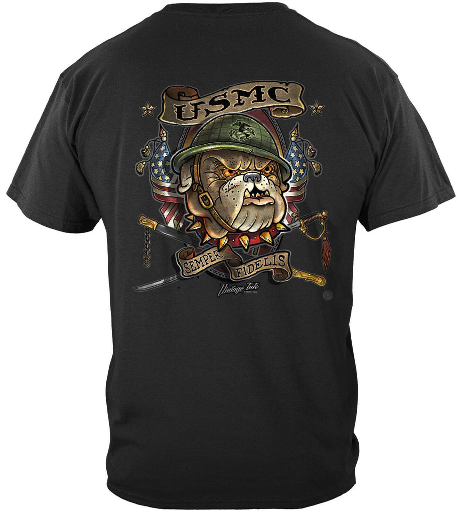 USMC Marine Corps Bull Dog USA Flag Semper Fidelis T-Shirt 100% Cotton Black