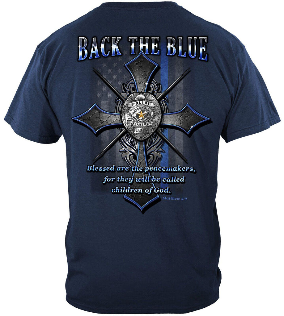 Police Back the Blue USA Flag Cross Law Enforcement T-Shirt 100% Cotton Navy