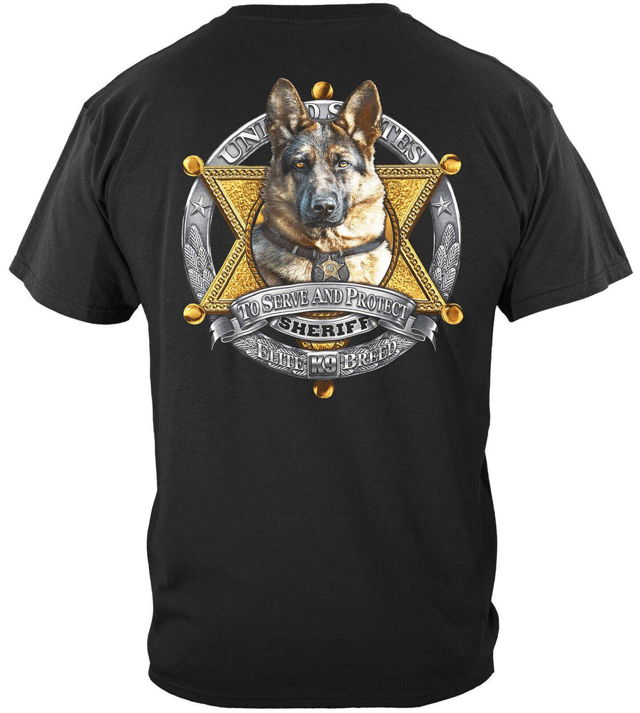 Law Enforcement Police Elite Breed K9 Sheriff T-Shirt 100% Cotton Black