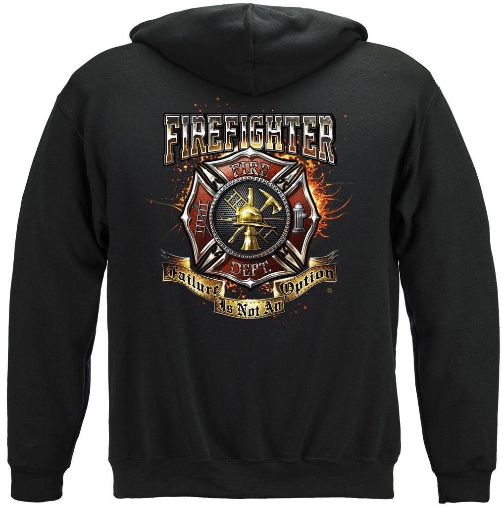 Firefighter Fire Dept Shield Failure Is Not An Option Hoodie Sweatshirt Black
