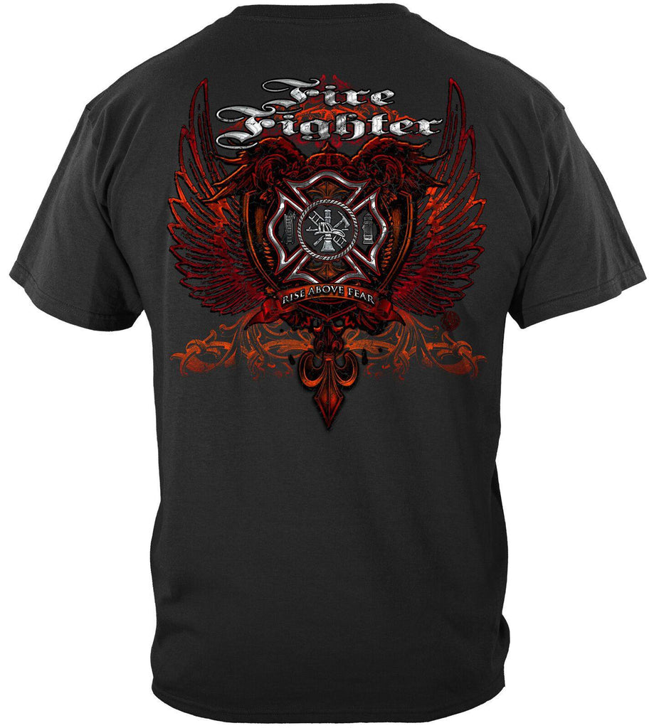 Firefighter Red Wings Rise Above Fear Silver Foil T-Shirt 100% Cotton Black