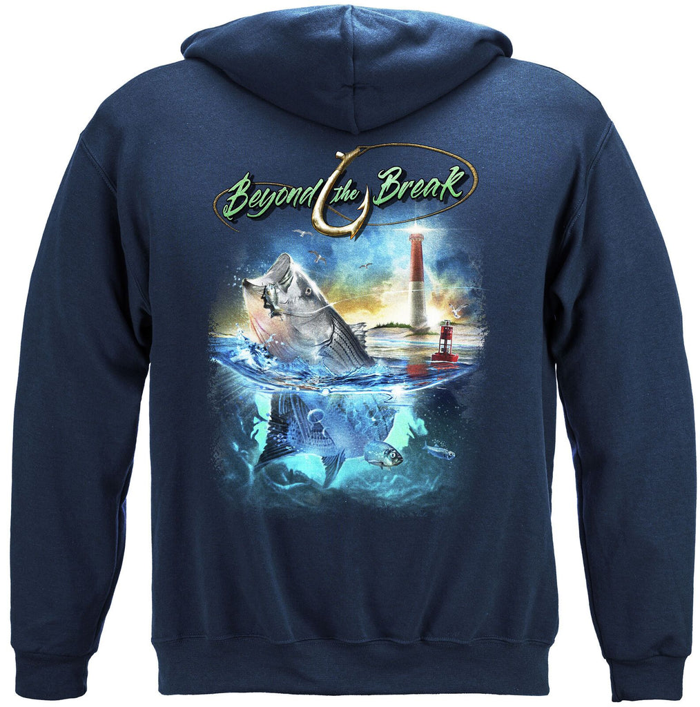 Striped Bass Fish Beyond The Break Mens Hoodie Sweatshirt Navy