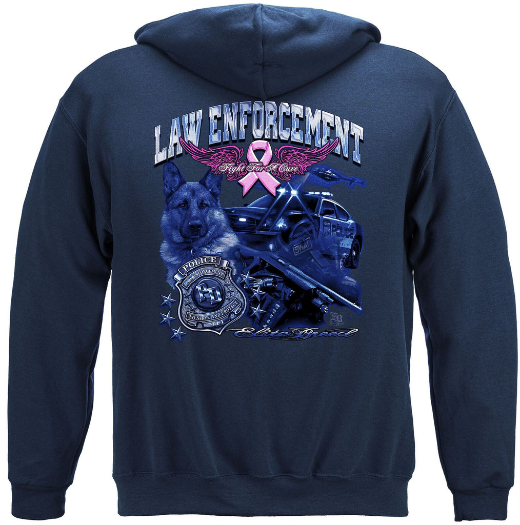 Elite Breed Police Law Enforcement Fight Cancer Hoodie Sweatshirt Navy