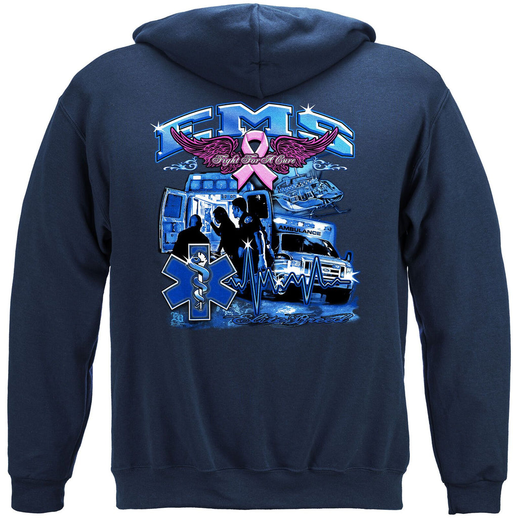 Elite Breed EMS Fight For Cure Cancer Hoodie Sweatshirt Navy