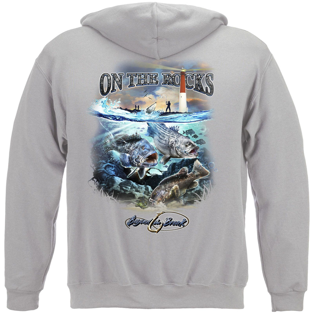 On the Rocks Striped Bass Sea Bass Black Fish Hoodie Sweatshirt Charcoal Grey