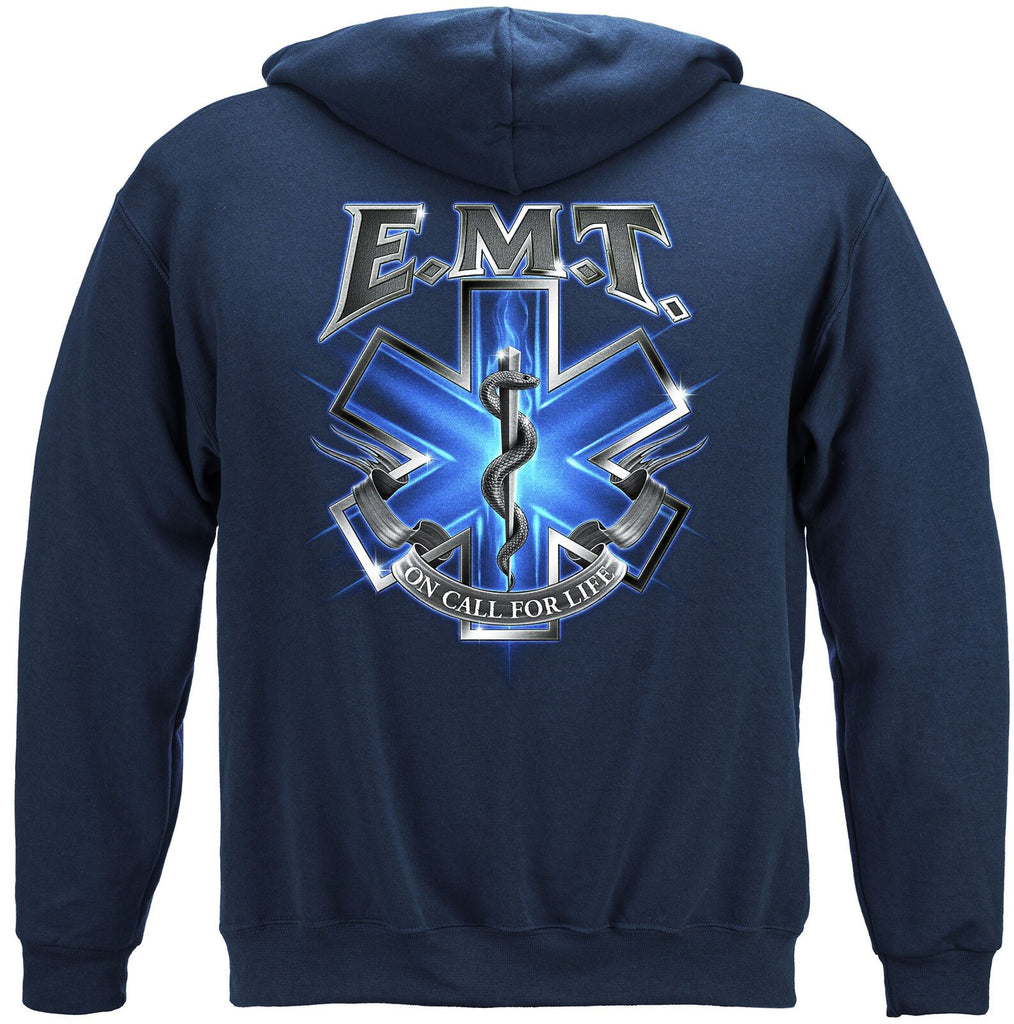 On Call For Life EMT Mens Hoodie Sweatshirt Navy