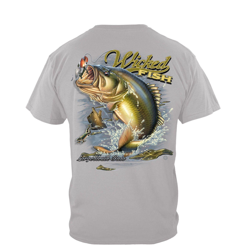 Wicked Fish Large Mouth Bass With Popper Jumping Frog T-Shirt 100% Cotton Gray