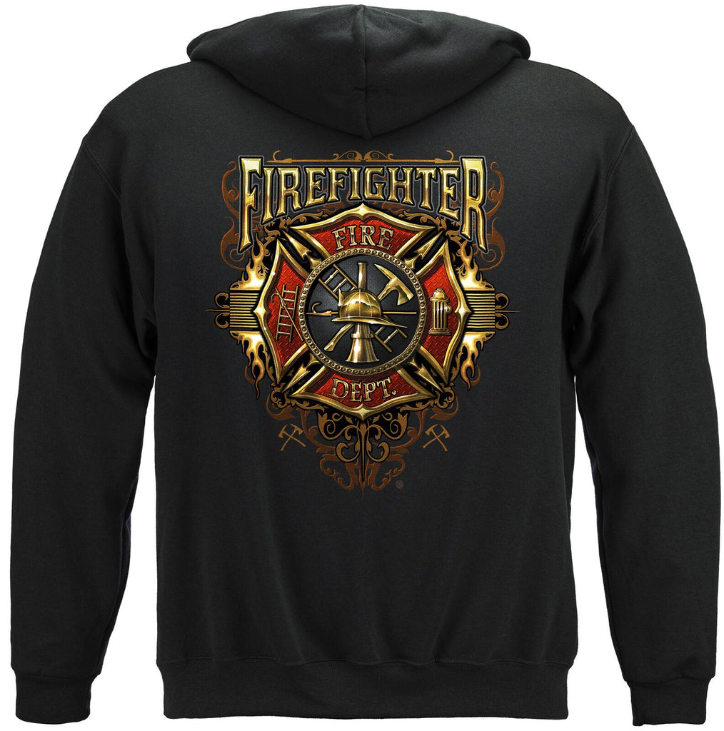 Firefighter Flames Fire Dept Gold Shield Hoodie Sweatshirt Black