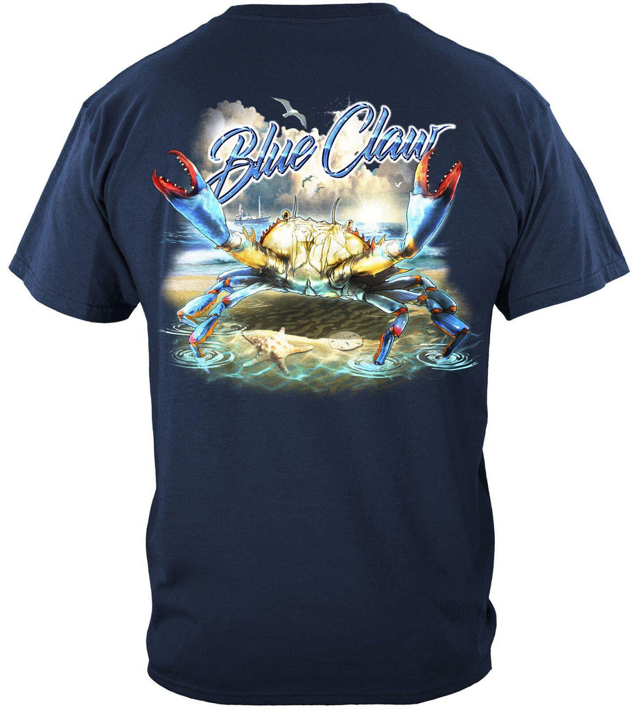 Blue Claw Crab In Your Face Fish Fishing T-Shirt 100% Cotton Light Blue