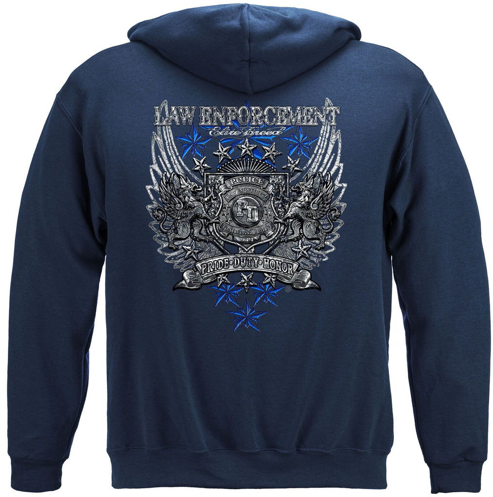 Elite Breed Law Enforcement Police Chrome Wings Foil Hoodie Sweatshirt Navy