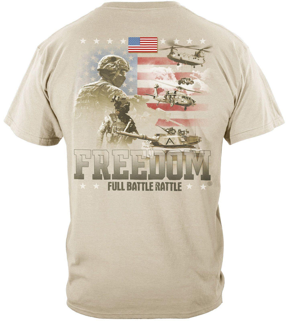 Military Soldiers Freedom Full Battle Rattle Patriotic USA Flag T-Shirt Beige