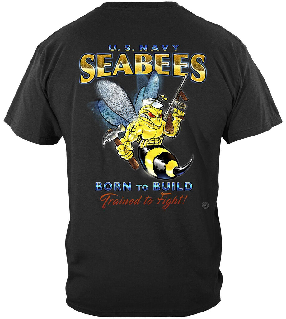 USN US Navy SeaBees Born To Build Trained To Fight T-Shirt 100% Cotton Black
