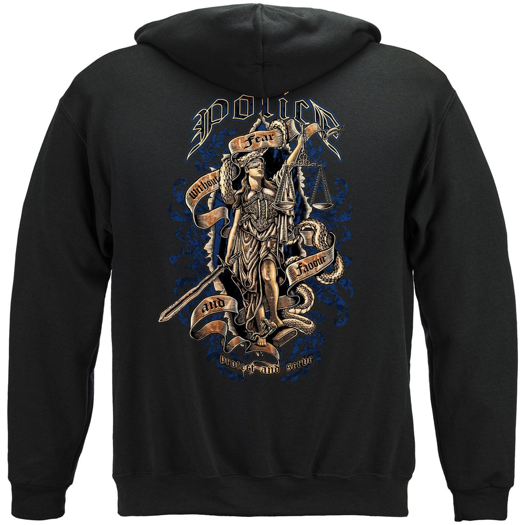 Police Scales of Justice Protect and Serve Hoodie Sweatshirt Black