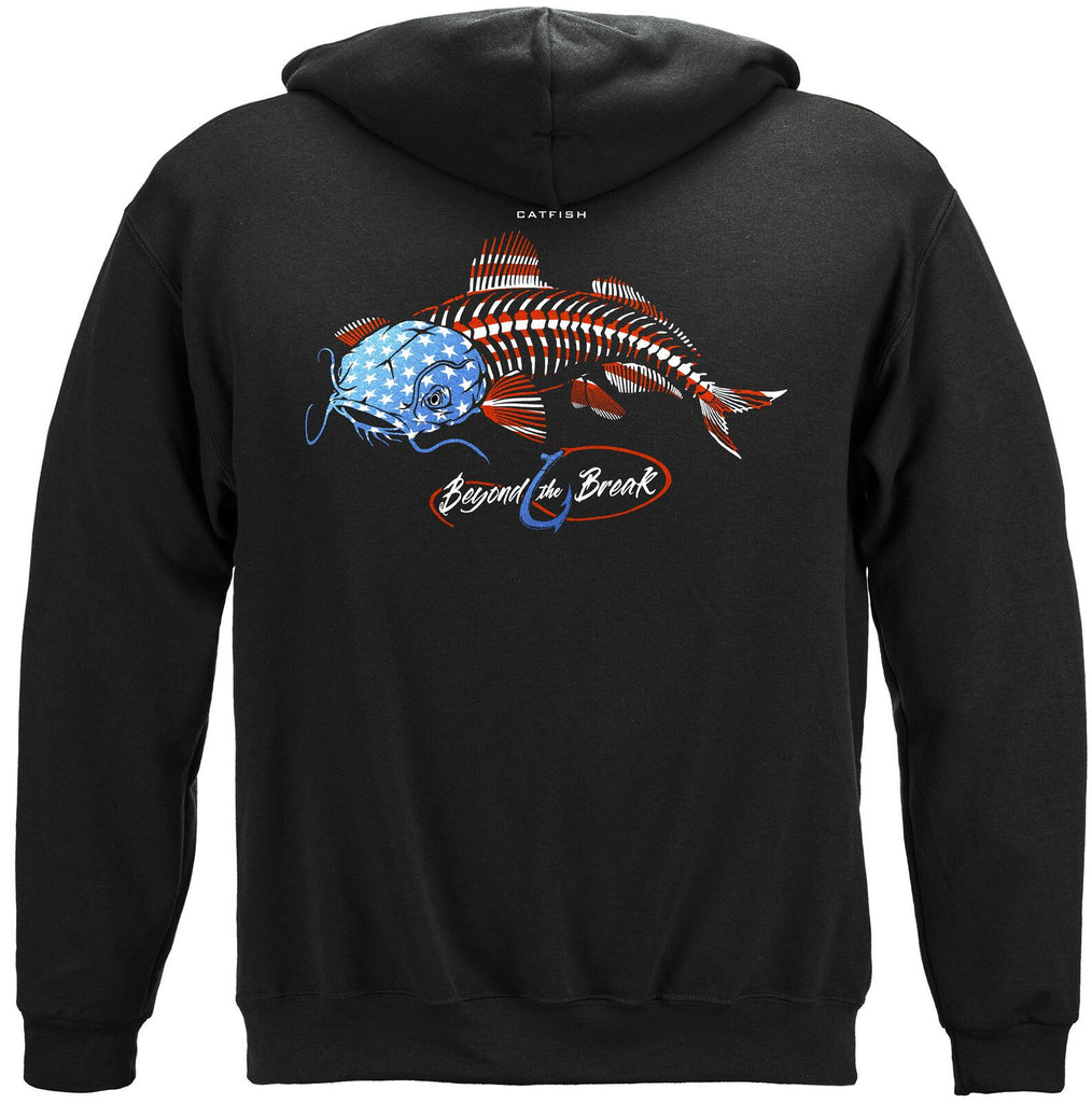 Fishing Patriotic Catfish Mens US Flag Sweatshirt Black