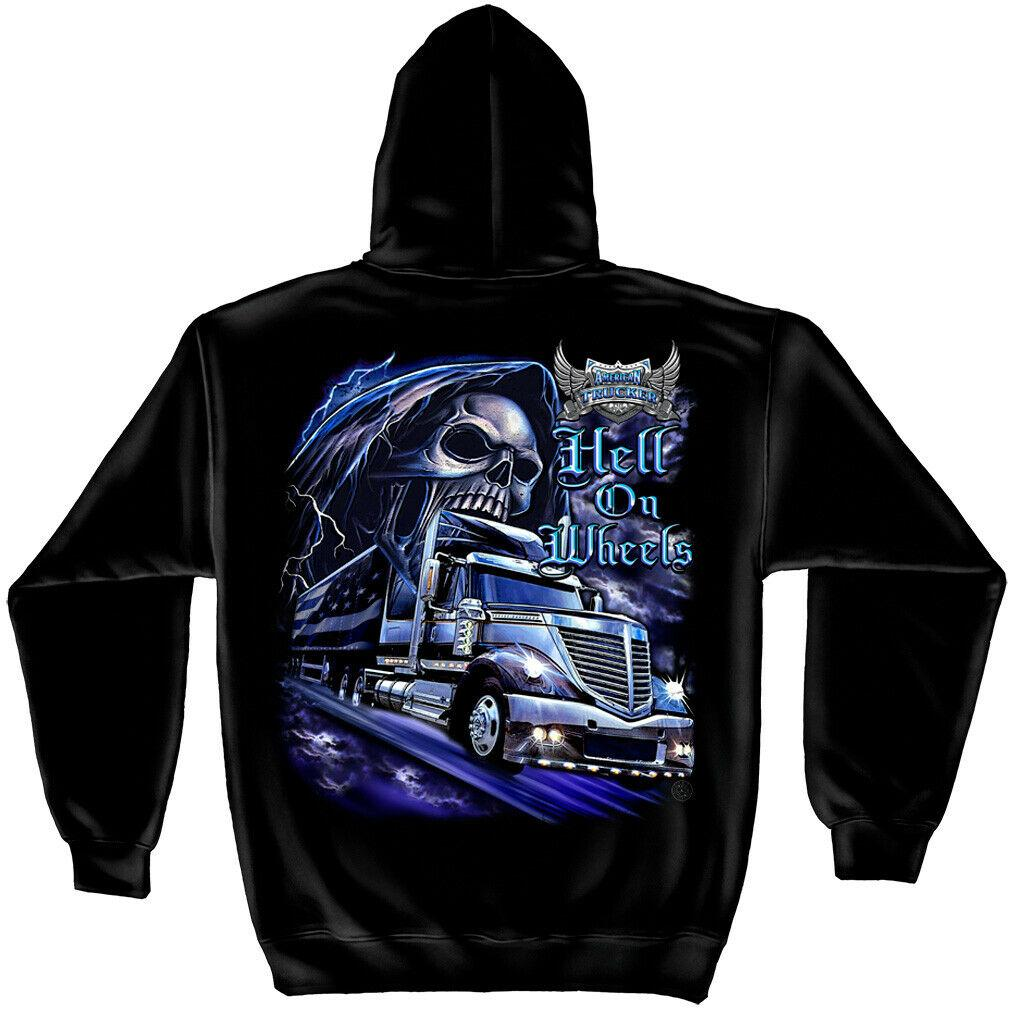 American Trucker Hell On Wheels Skull Hoodie Sweatshirt Black