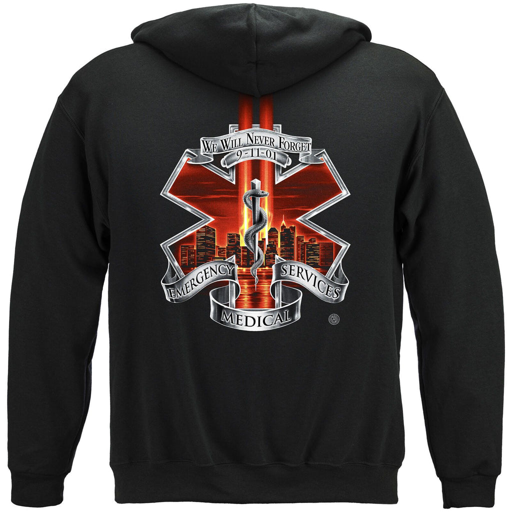 Red High Honors EMS We Shall Never Forget Sept 11 Hoodie Sweatshirt Black