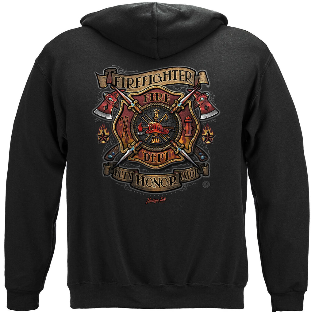 Firefighter Fire Department Tattoo Vintage Ink Hoodie Sweatshirt Black
