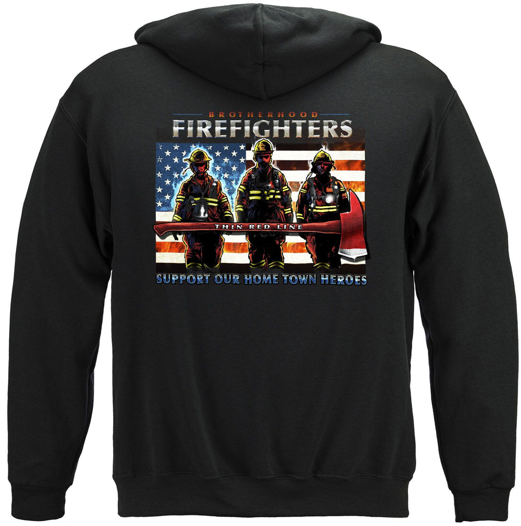 Firefighter Brotherhood Thin Red Line US Flag Patriotic Hoodie Sweatshirt Black