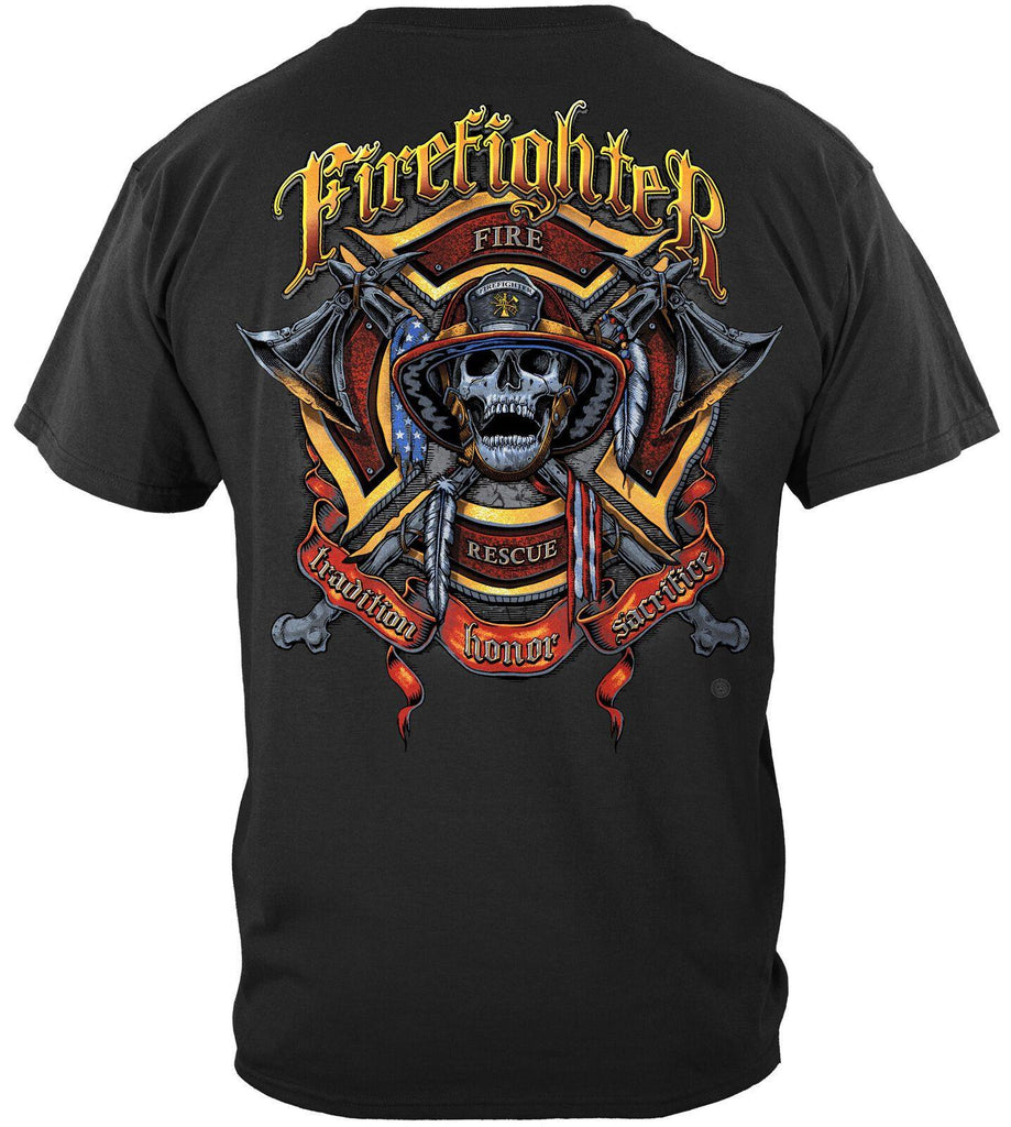Firefighter Fire Fighter Honor Biker And Axes T-Shirt 100% Cotton Black