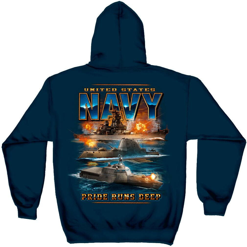 US Navy Pride Runs Deep Submarine Hoodie Sweatshirt Navy
