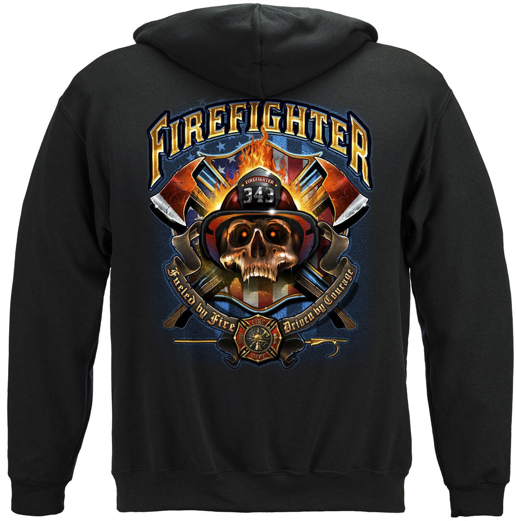 Firefighter Fire Dept Patriotic Skull Courage Hoodie Sweatshirt Black