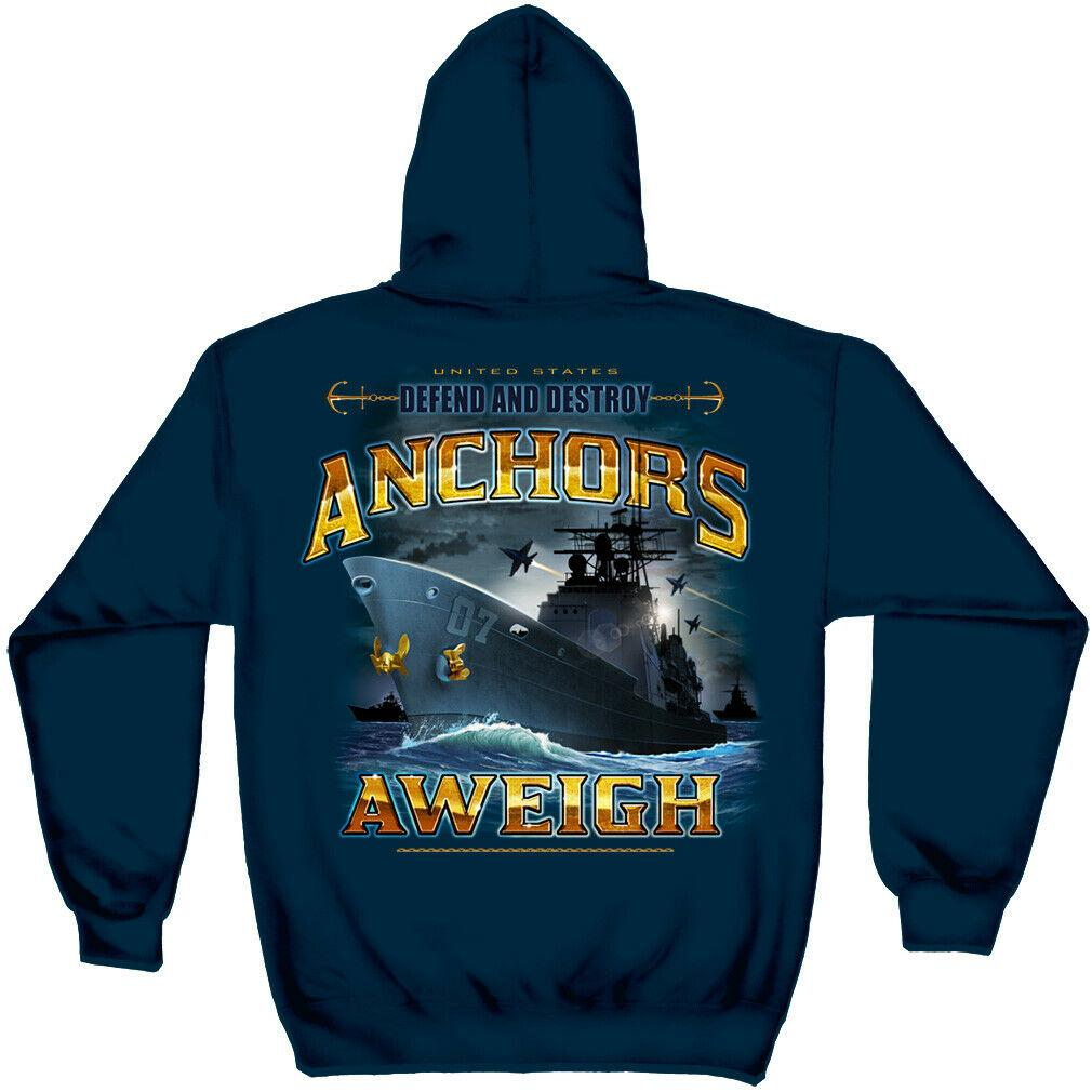 US Navy Anchors Aweigh Defend And Destroy Mens Hoodie Sweatshirt Navy