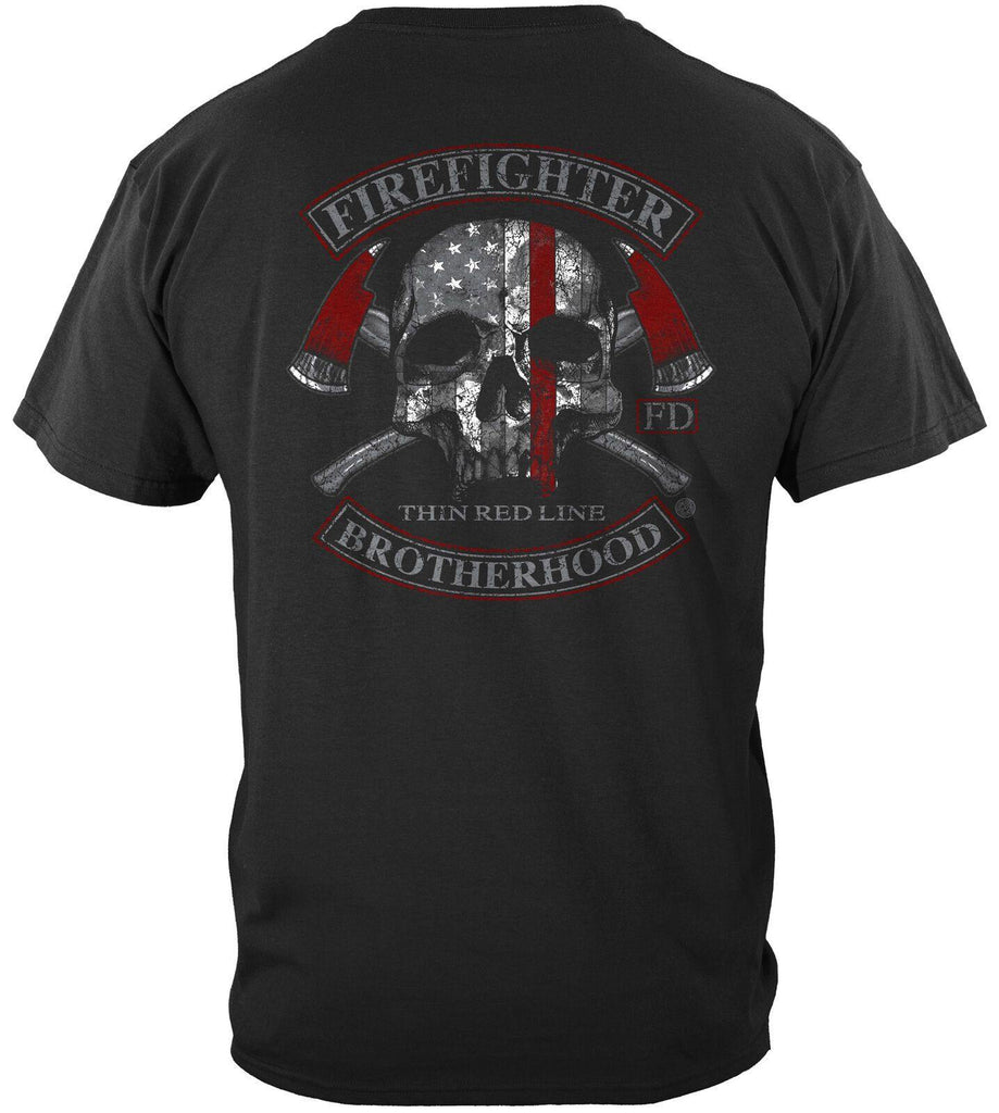 Firefighter Fire Fighter Brotherhood Skull Thin Red Line T-Shirt 100% Cotton