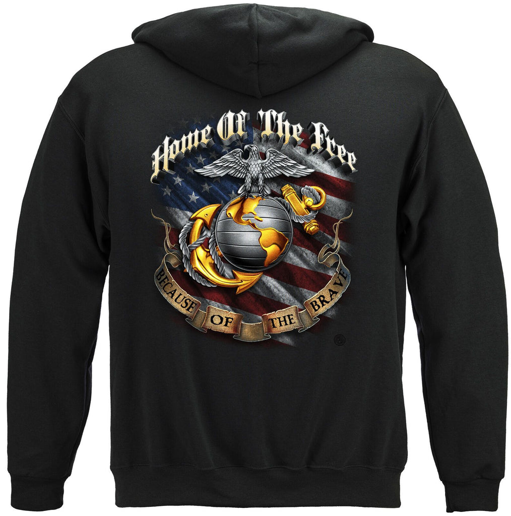 USMC Marine Home Of The Free Because Of The Brave Mens Hoodie Sweatshirt Black