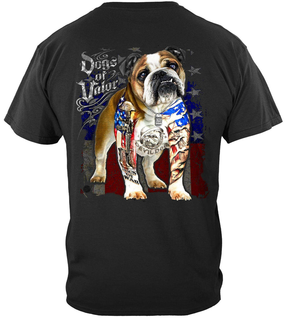 Dogs Of Valor Bull Dog USA Flag T-Shirt 100% Cotton Black