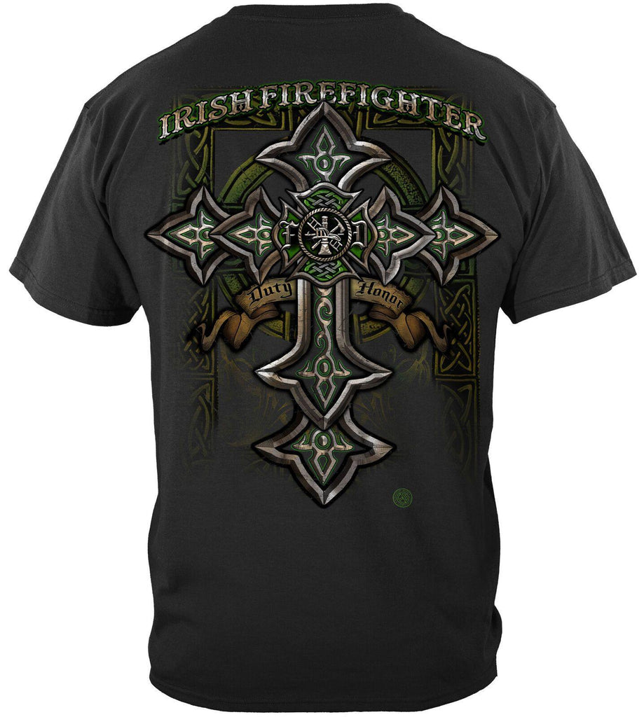 Firefighter Fireman Irish Celtic Cross Green Foil T-Shirt 100% Cotton Black