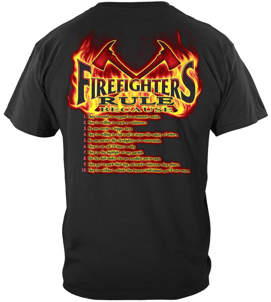 Rule Firefighters Fire Fighters Axe T-Shirt 100% Cotton Black