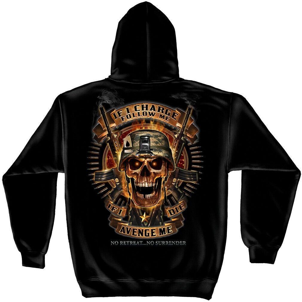Military Skull of Doom If I Die Avenge Me No Retreat Hoodie Sweatshirt Black