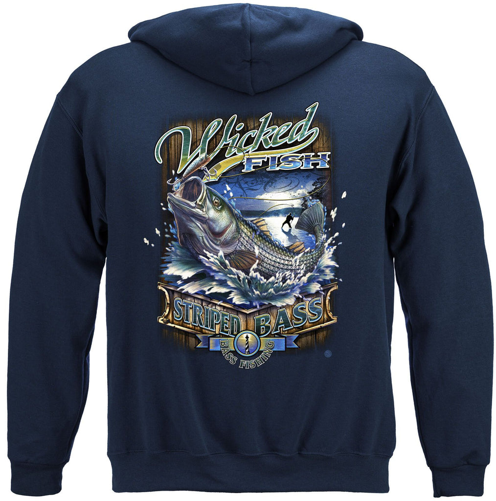 Fishing Wicked Fish Stripped Bass Action Hoodie Sweatshirt Navy