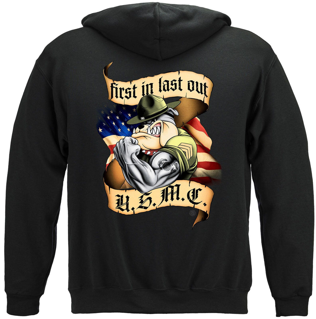 USMC First In Last Out Marine Corps Hoodie Sweatshirt Black