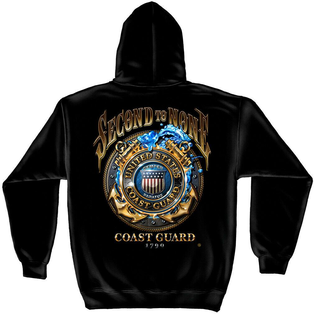 US Coast Guard Second To None Mens Hoodie Sweatshirt Navy