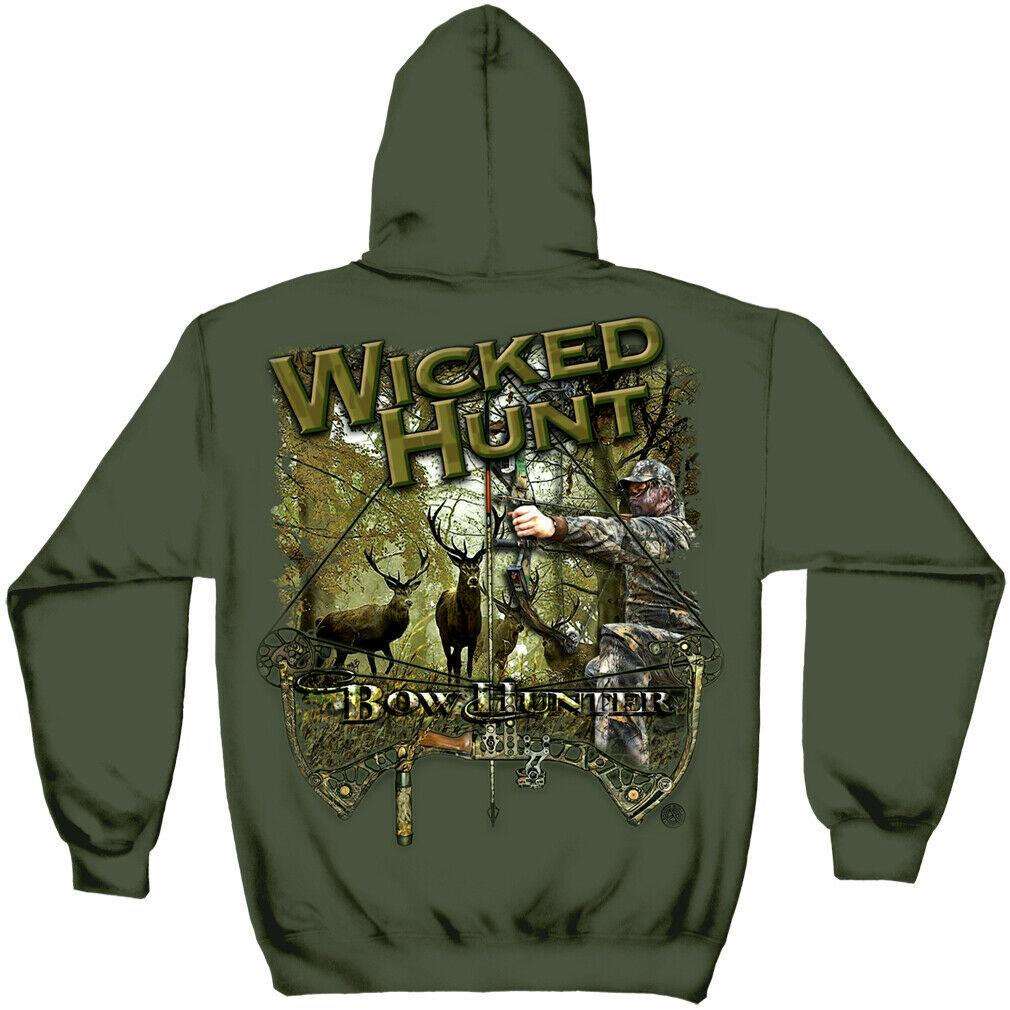 Wicked Hunt Bow Hunter Hoodie Sweatshirt Military Green