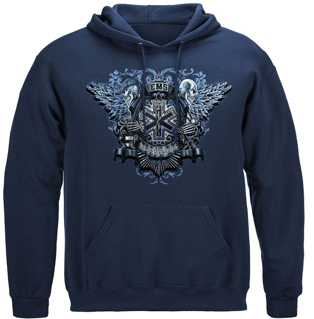 EMS Emergency Medical Services Skull Wings Full Hoodie Sweatshirt Navy