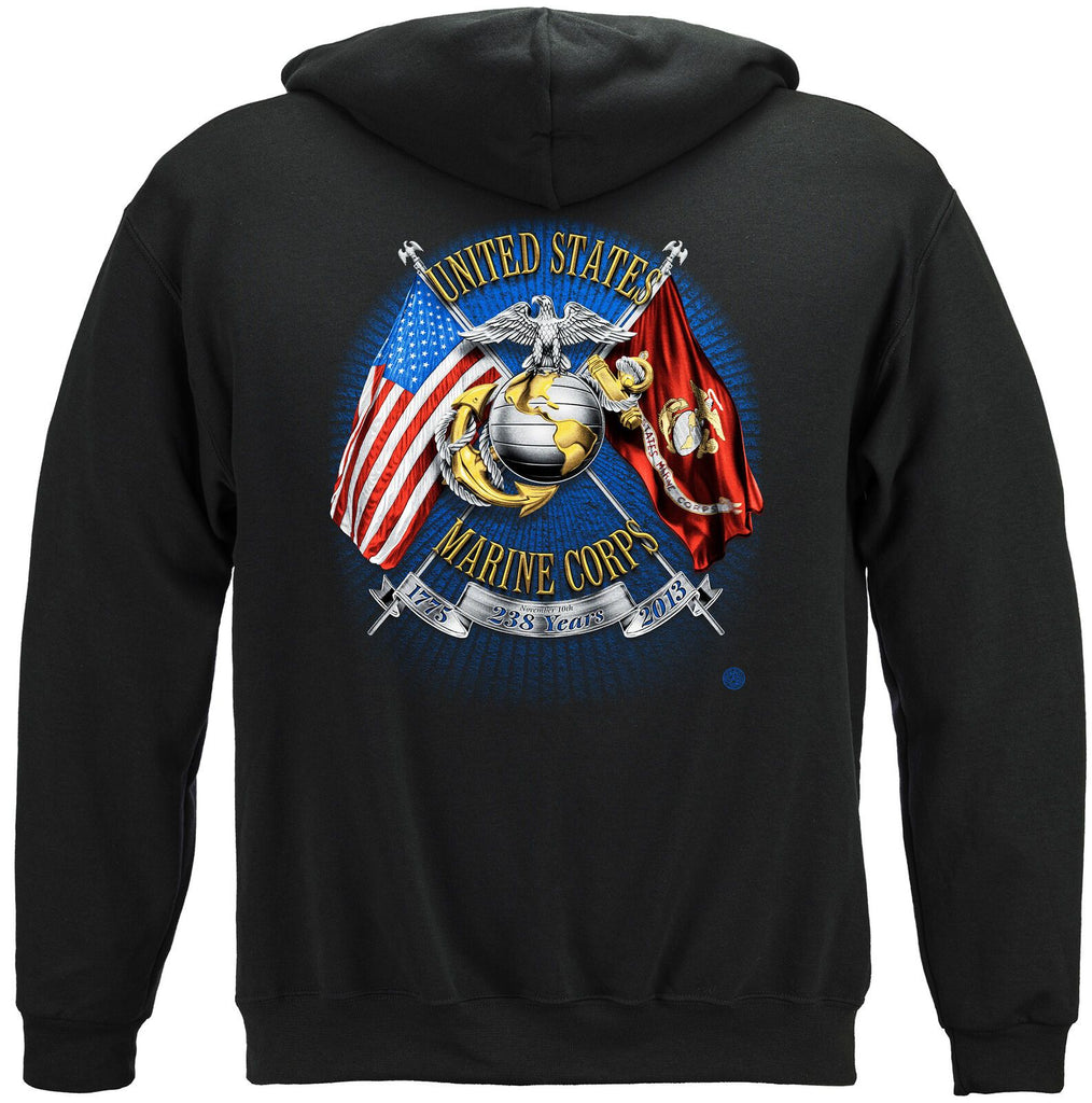 USMC Marine Corps Birthday Shirt USA Flag Eagle Hoodie Sweatshirt Black