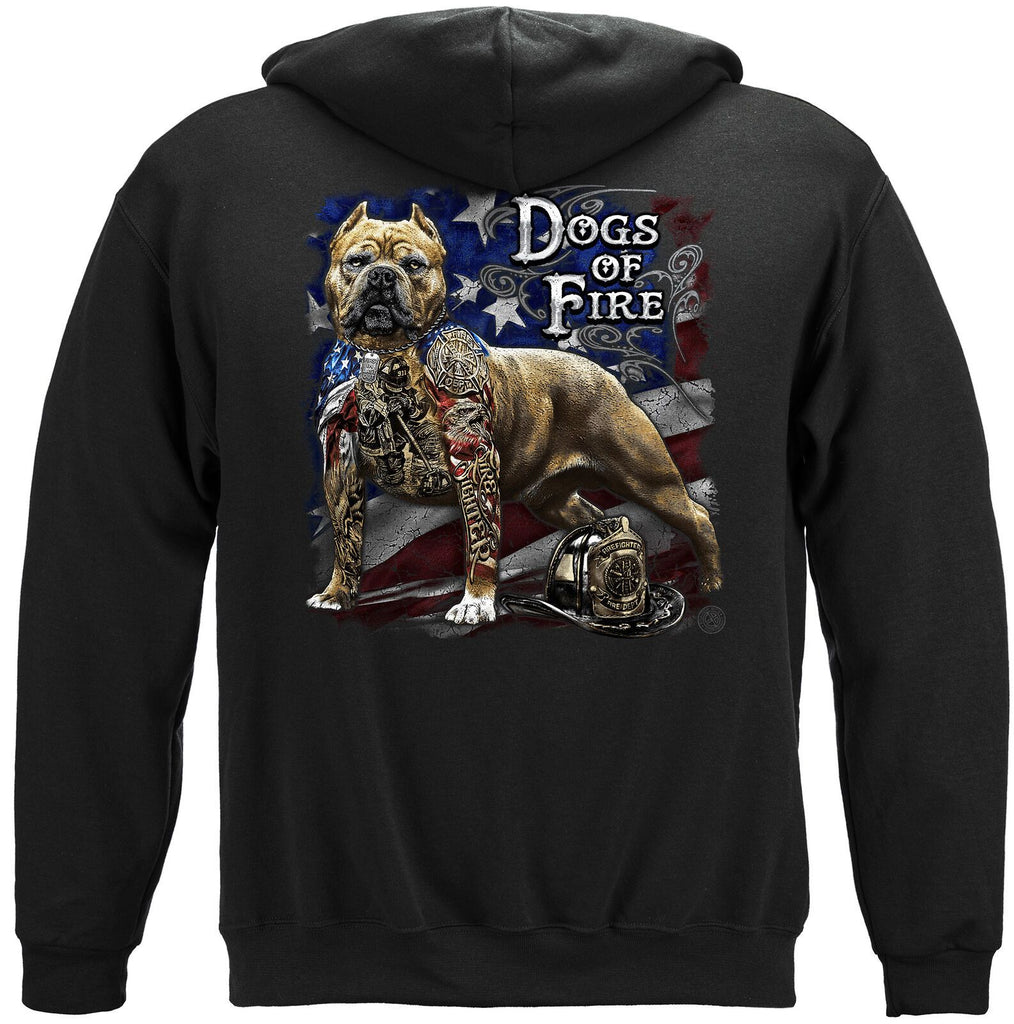 Firefighter Pit Bull Dog Tattoo American Flag Hoodie Sweatshirt Black