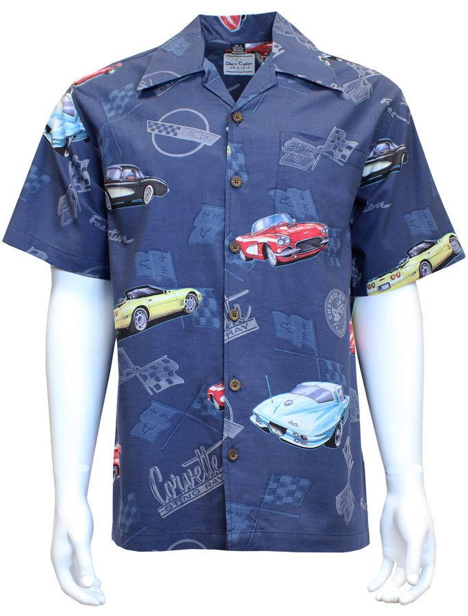 David Carey Classic Corvettes Camp Club Shirts Retro Inspired Blue