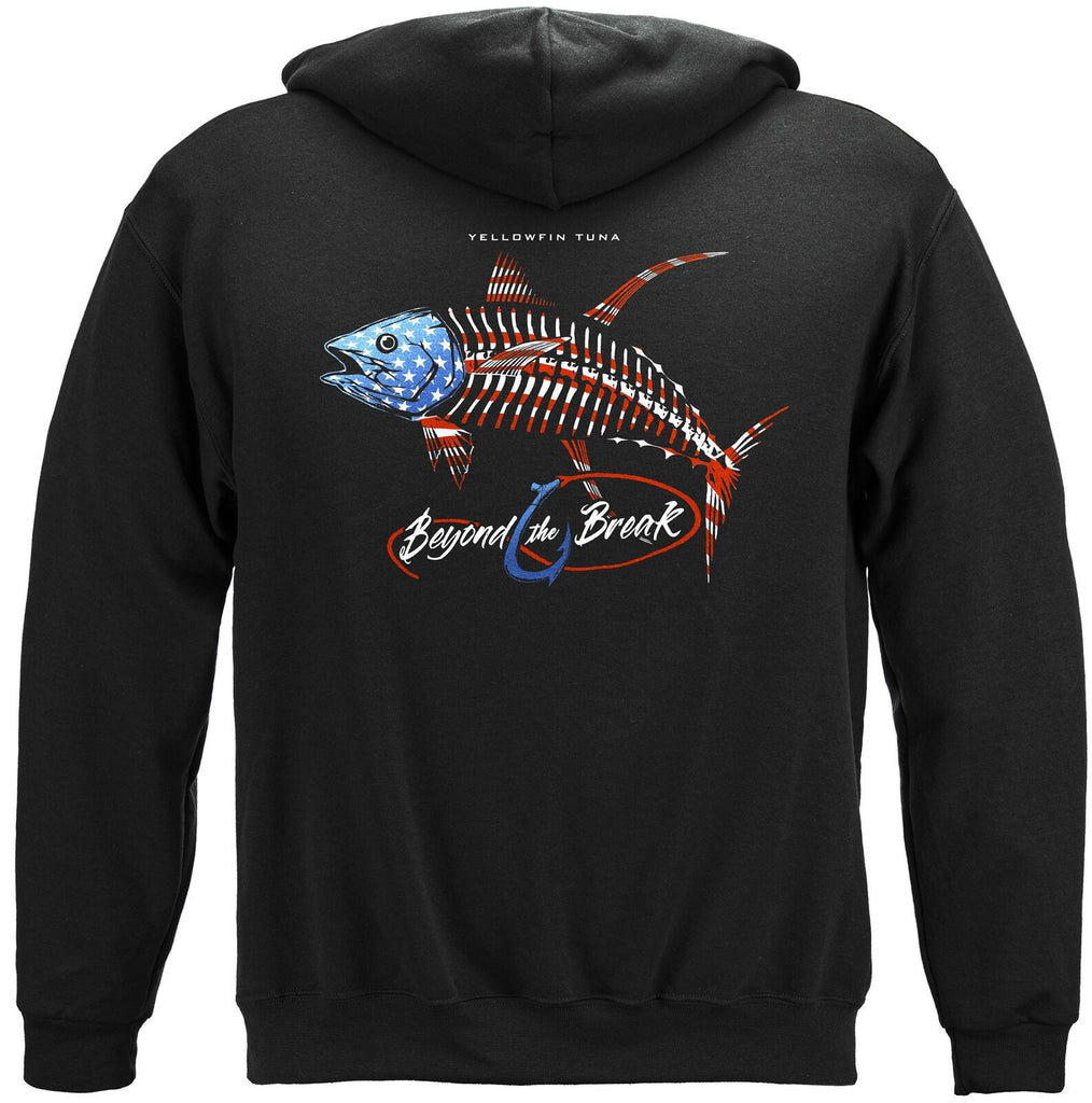 Fishing Patriotic Tuna Hoodie Sweatshirt Black