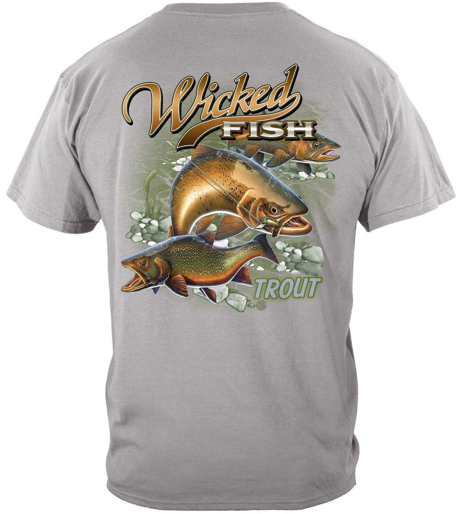 Wicked Fish Trout Fishing T-Shirt 100% Cotton Gravel