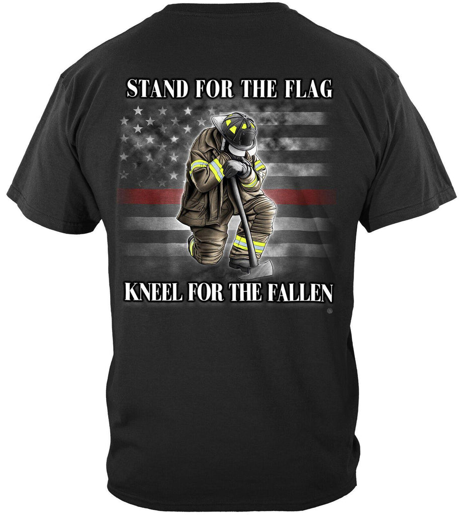Firefighter I Stand for the Flag Kneel for the Fallen T-Shirt 100% Cotton Black