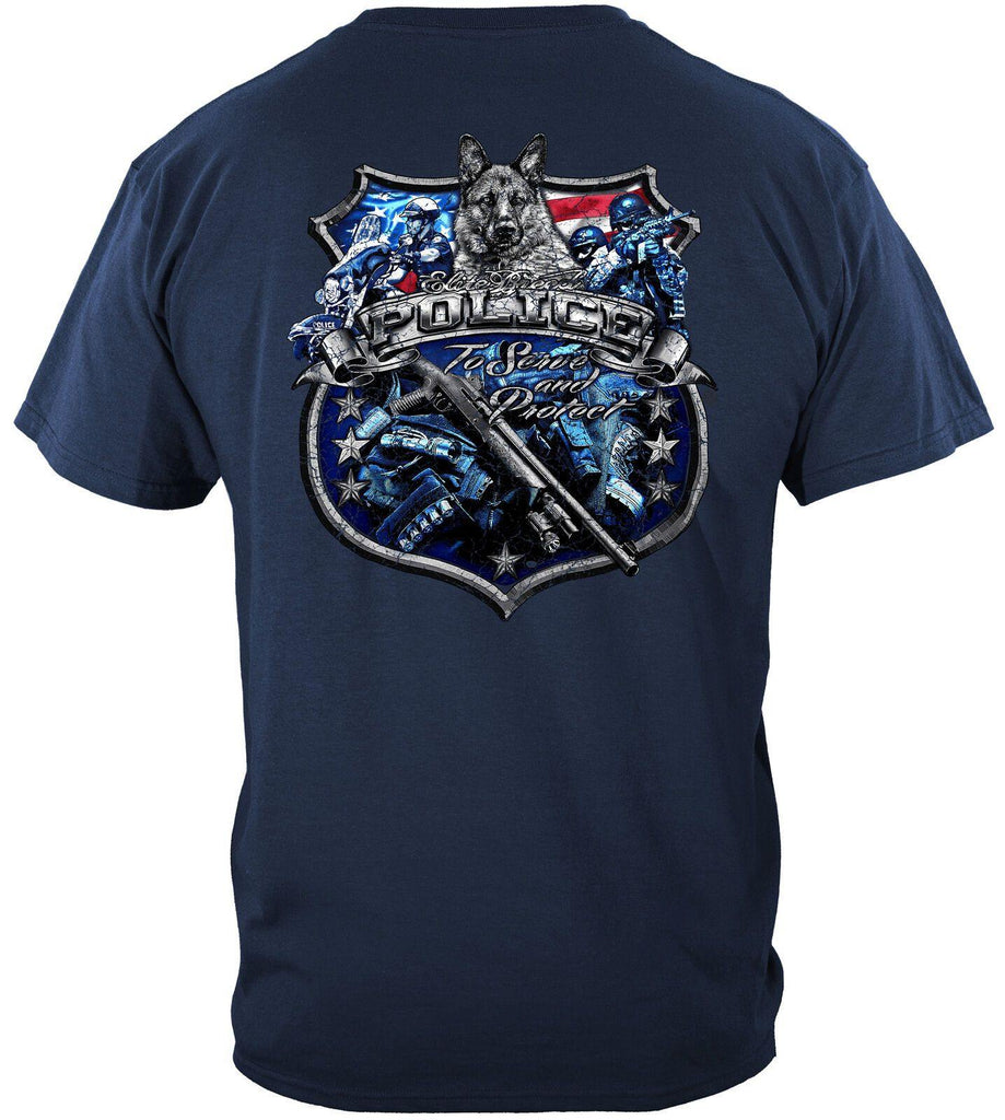 Elite Breed Police Force To Serve & Protect USA Flag T-Shirt 100% Cotton Navy