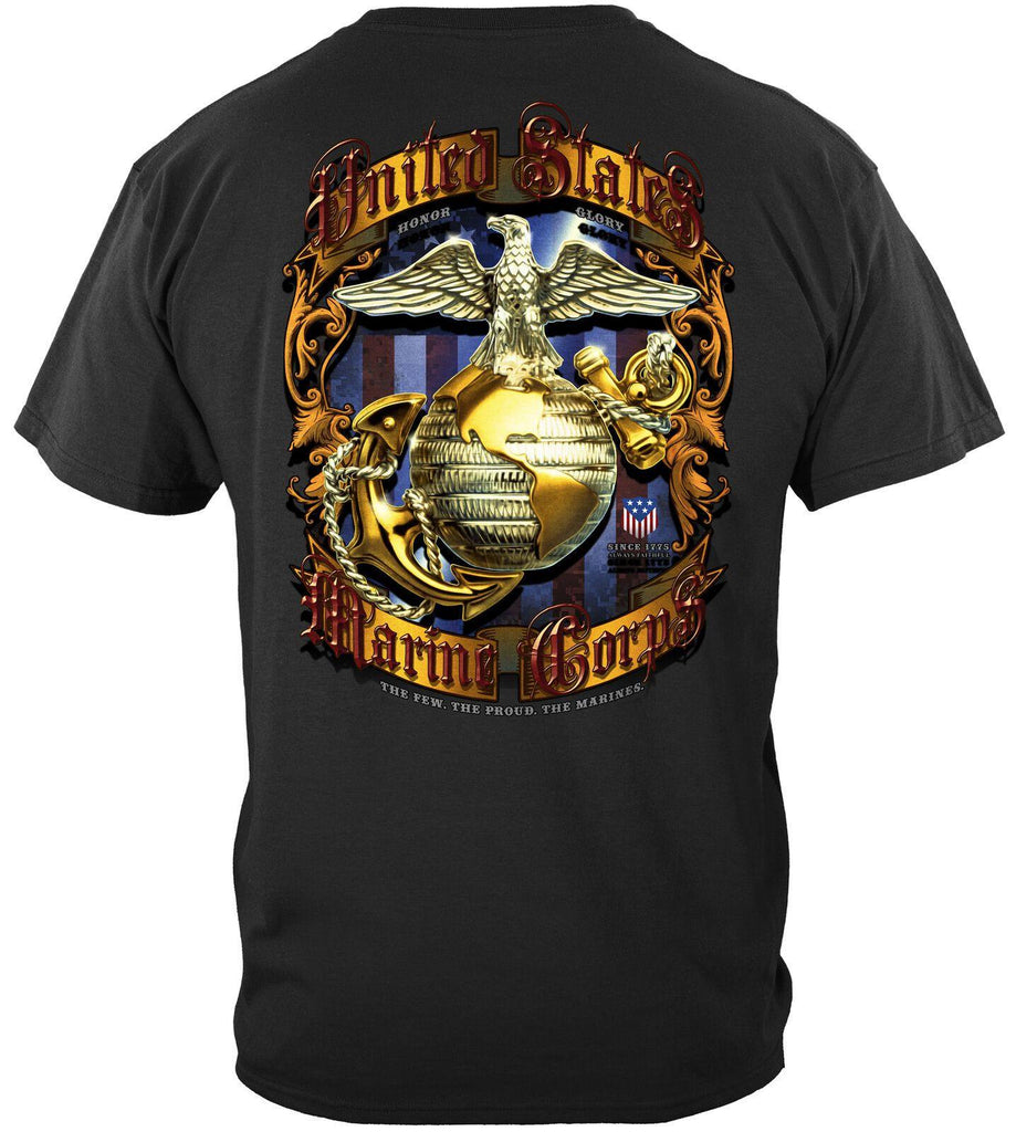 USMC Pride Honor Tradition Marine Corps Foil T-Shirt Flag Eagle 100% Cotton