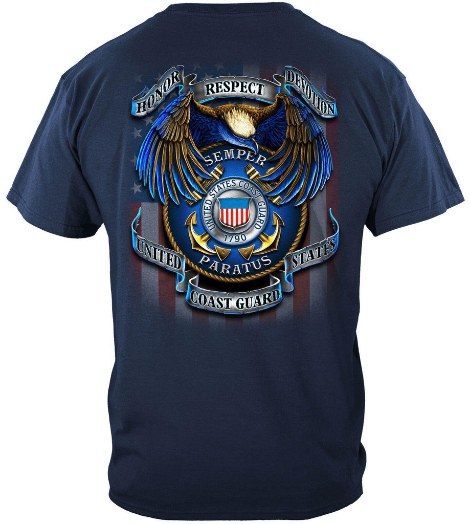 US Coast Guard Semper Paratus T-Shirt 100% Cotton Navy